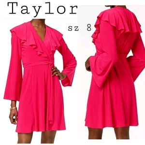 TAYLOR Bell Sleeve ruffle Wrap Dress . Sz 8